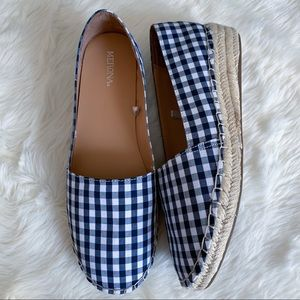 Gingham Plaid Espadrille Flats Loafers Blue 9.5